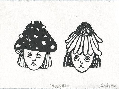 """Nature Babes"" Linocut Print"