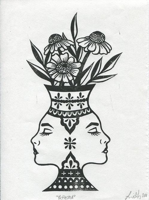 """Reflected"" Linocut Print"