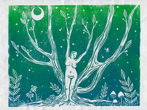 """Branching Out"" Linocut Print"