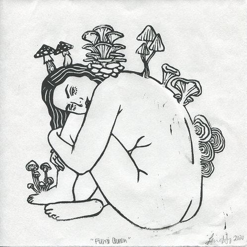 """""""Fungi Queen"""" Linocut Print"""