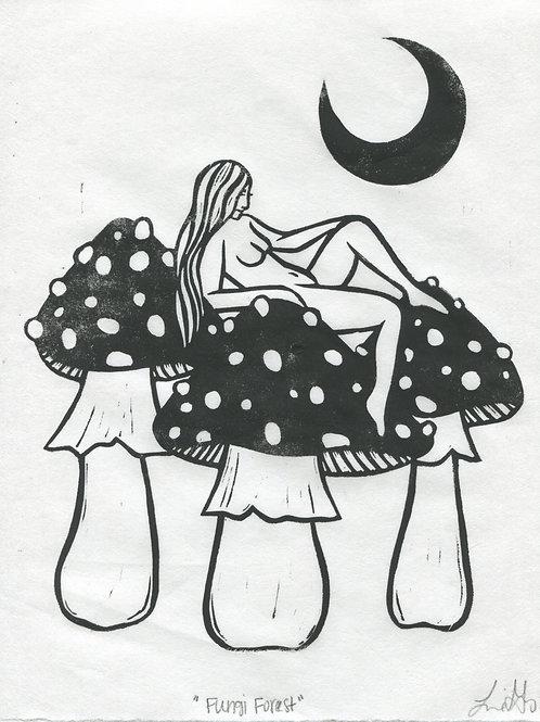 """Fungi Forest"" Linocut Print"