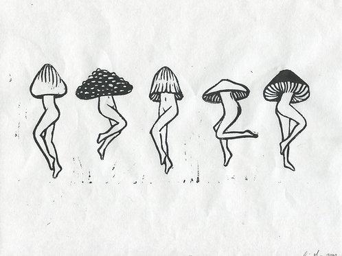 """Mushroom Dance"" Linocut Print"