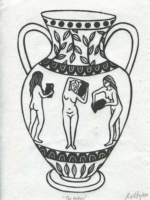 """The Bathers"" Linocut Print"