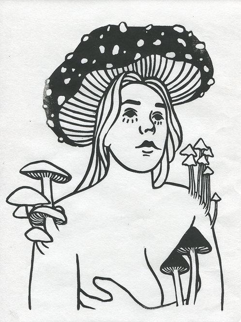 """Mycelium Mind"" Linocut Print"