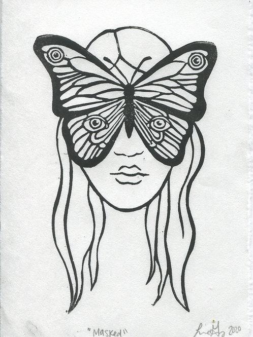 """Masked"" Linocut Print"