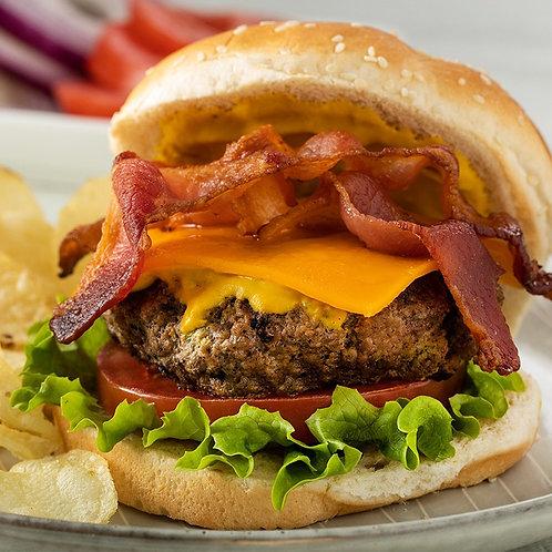 Cheese burger con papas fritas.