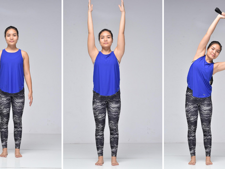 Sun Salutation: Standing with Arms over Head for Yoga Beginners |Open Shoulders with Strap
