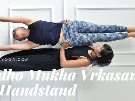 Use the Wall to Handstand in Yoga - beginners version