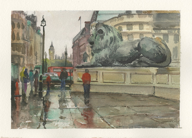 London Trafalgar Square on a wet day