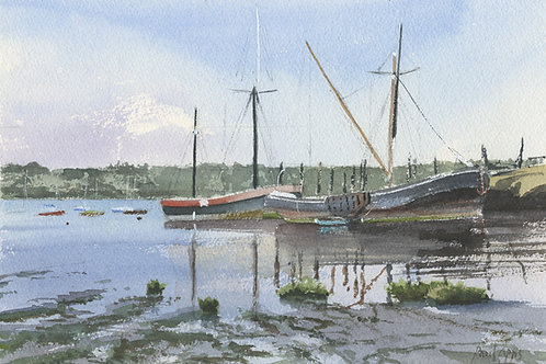 Thames Barges moored at PinMill in Suffolk.