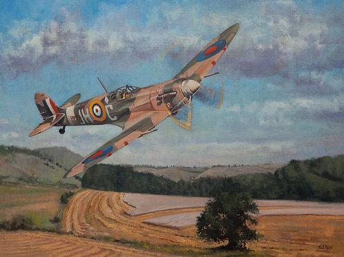 Spitfire Mk Vb over Saltwood - Mounted Print - including UK shipping