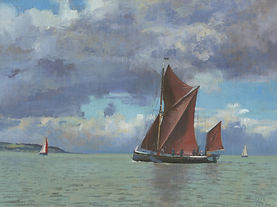 Thames Barge off whitstable 12 x 16 oil