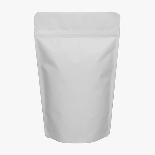 Stand Up Pouch Resealable Zip Lock Pouch -WHITE MATTE - 16oz