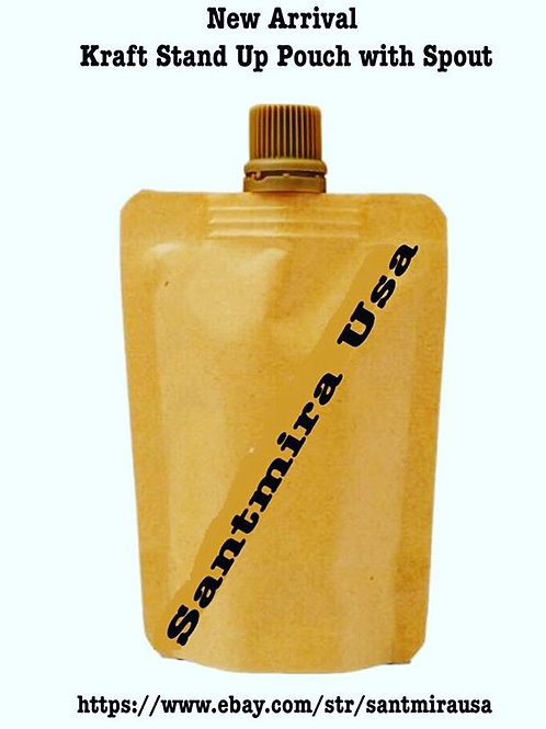 Stand Up Spout Liquid Bag Flask Pouch With Cap ~ Kraft Brown ~ 2oz