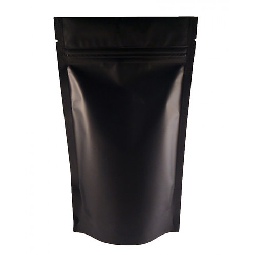 Stand Up Pouch Resealable Zip Lock Pouch - BLACK MATTE - 8oz
