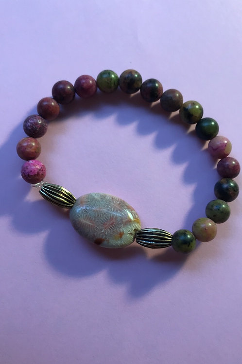 Beautiful bracelet with petrified coral and Jasper.
