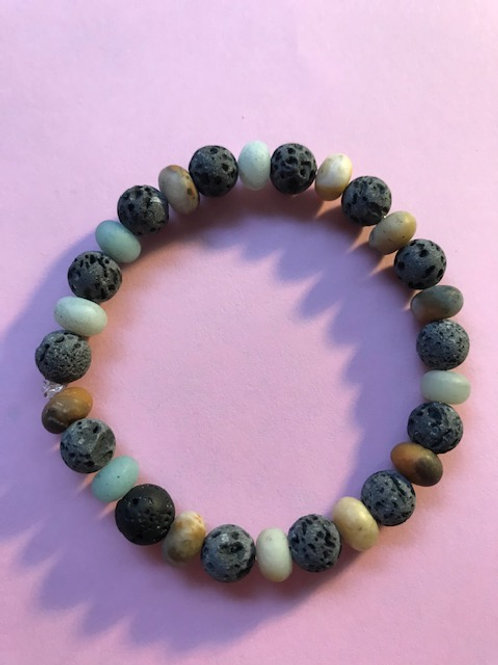 Grounding bracelet of lava and amazonite infused with healing energy