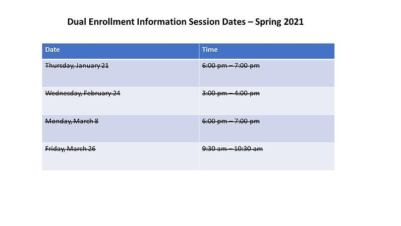 dual enrollment session dates spring 202