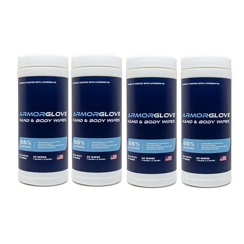 4-Pack ArmorGlove Hand & Body Wipes - 40 ct. per canister