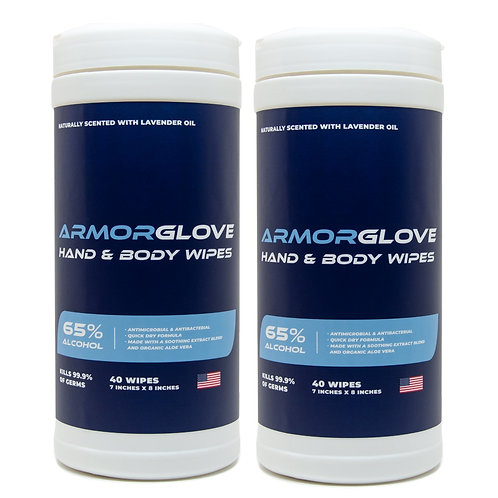 2-Pack ArmorGlove Hand & Body Wipes - 40 ct. per canister