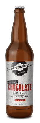 Garage Brewing Co bottle of Cherry Chocolate Milk Stout. Brewed in Temecula, CA