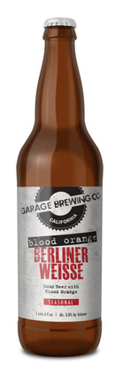 Garage Brewing Co bottle of Blood Orange Berliner Weisse. Brewed in Temecula, CA