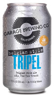 Garage Brewing Co can of Belgian Style Tripel. Brewed in Temecula, CA