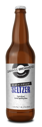 Garage Brewing Co bottle of Black Currant Seltzer. Made in Temecula, CA