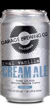 Garage Brewing Co can of Real Vanilla Cream Ale. Brewed in Temecula, CA