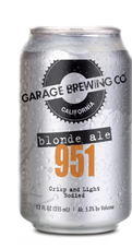 Garage Brewing Co can of 951 Blonde Ale. Brewed in Temecula, CA