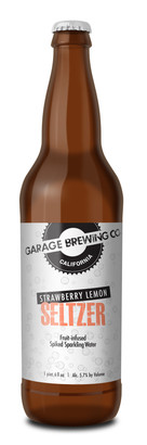 Garage Brewing Co bottle of Strawberry Lemon Seltzer. Made in Temecula, CA