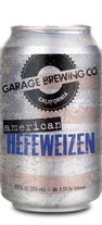 Garage Brewing Co can of American Hefeweizen. Brewed in Temecula, CA