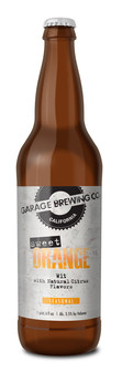 Garage Brewing Co bottle of Sweet Orange Wit. Brewed in Temecula, CA