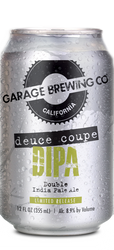 Garage Brewing Co can of Deuce Coupe Double IPA. Brewed in Temecula, CA