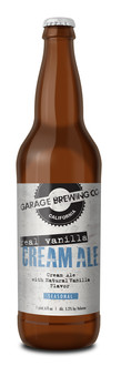 Garage Brewing Co bottle of Real Vanilla Cream Ale. Brewed in Temecula, CA