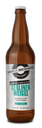 Garage Brewing Co bottle of Watermelon Berliner Weisse. Brewed in Temecula, CA