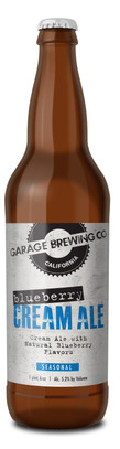 Garage Brewing Co bottle of Blueberry Cream Ale. Brewed in Temecula, CA