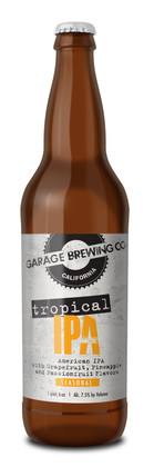 Garage Brewing Co bottle of Tropical IPA. Brewed in Temecula, CA