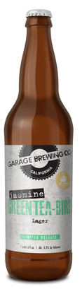 Garage Brewing Co bottle of Jasmine Green Tea-Bird. Brewed in Temecula, CA