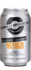 Garage Brewing Co can of Mango Deuce Coupe Double IPA. Brewed in Temecula, CA