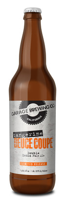 Garage Brewing Co bottle of Tangerine Deuce Coupe Double IPA. Brewed in Temecula, CA