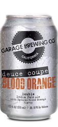 Garage Brewing Co can of Blood Orange Deuce Coupe Double IPA. Brewed in Temecula, CA