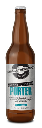 Garage Brewing Co bottle of Spiced Coconut Porter. Brewed in Temecula, CA
