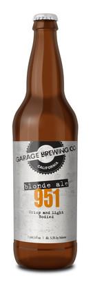 Garage Brewing Co bottle of 951 Blonde Ale. Brewed in Temecula, CA