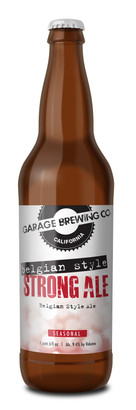 Garage Brewing Co bottle of Belgian Style Strong Ale. Brewed in Temecula, CA