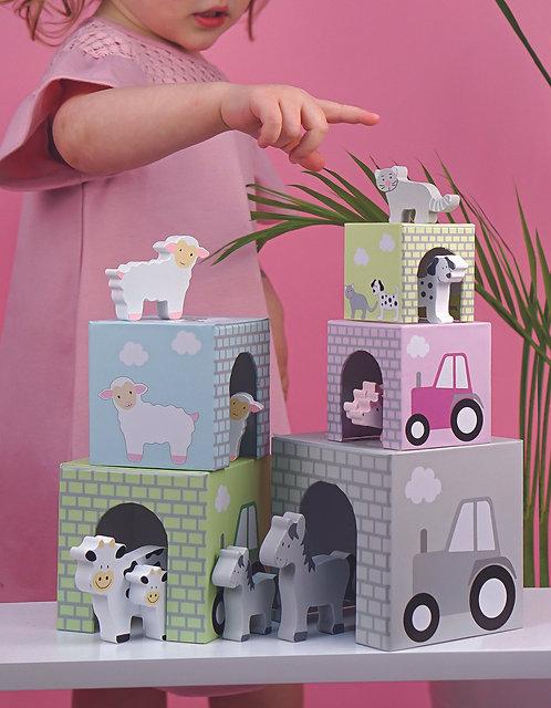 Stapelbar kub med djur