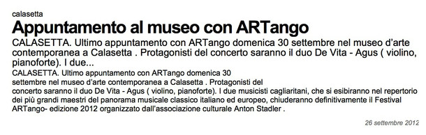 ARTango (La nuova Sardegna)