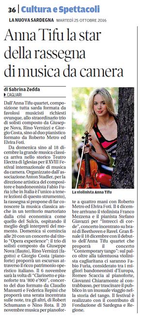 XVIII Festival Internazionale di Musica da Camera (La Nuova Sardegna)