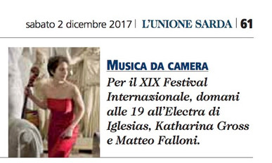 XIX Festival Internazionale di Musica da Camera (Unione Sarda)