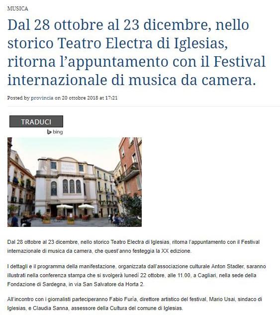 XX Festival Internazionale di Musica da Camera (La Provincia del Sulcis Iglesiente)